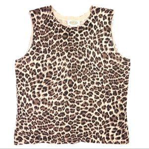 Talbots Leopard Silk & Cashmere Tank - Medium